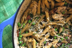 Chicken Pea and Pesto Pasta, An Easy Weeknight Dish